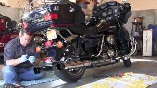 Rinehart Slip ons replacing stock exhaust on Harley Davidson FLHTK Electra Glide Ultra Limited.
