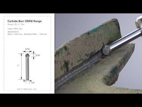 FindBuyTool Carbide Burr Forma SD-2 Forma de bola Omni Cabeza de rango D 5/16 x 5 / 16L, 1/4 Shank, 2 pulgadas de longitud completa