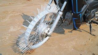 NTN - Thử Đi Xe Máy Bánh Gắn Đinh (Ride a motorcycle on Steel Nail)