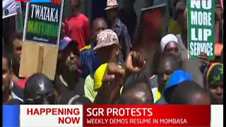 SGR Demos: Business owners and truck drivers protest over the cargo directive in Mombasa