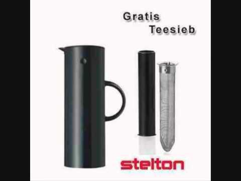 Aktion Stelton Isolierkanne   Thermoskanne schwarz   gratis Teesieb