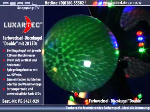 "Lunartec Farbwechsel-Discokugel ""Double"" m. 32 LEDs, Motor"