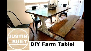 How To Build A Farmhouse Table And Bench DIY
