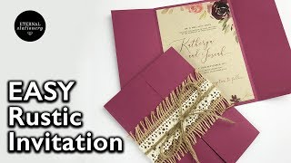 DIY Floral Rustic Wedding Invitation With Jute And Lace Belly Band | DIY Wedding Invitations