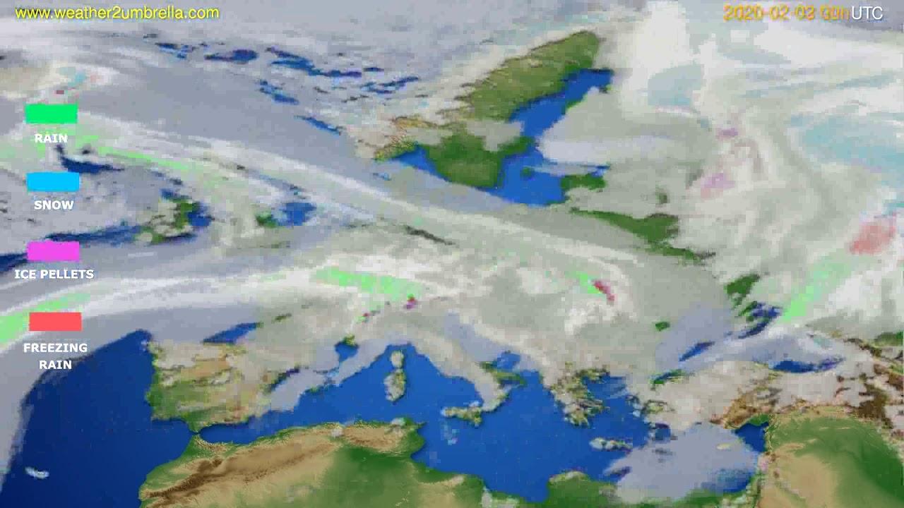 Precipitation forecast Europe // modelrun: 00h UTC 2020-02-02