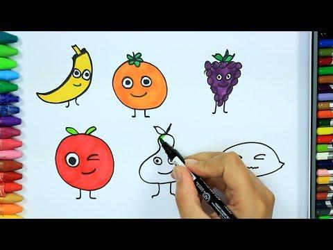 Wie zeichnet man Früchte 🍅 | Ausmalen Kinder HD | Malen für Kinder | Ausmalen | Zeichnen und Färben