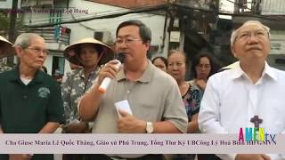 ĐC Phaolo Nguyễn Thái Hợp, chủ tịch UB Công Lý Hoà Bình, HĐGMVN đến thăm bà con vườn rau Lộc Hưng