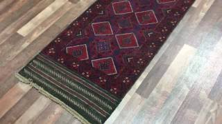 Semi-Antique Red and Blue Persian Baluch Runner Rug 2'2X8'10 - H 1792
