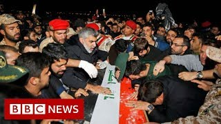 Qasem Soleimani: Mourners flood the streets as body returns to Iran - BBC News