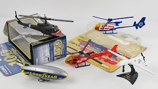UNBOXING Vintage Aircraft: Corgi UH IC Huey, Majorette Helicopters, Predator Drone + Goodyear Blimp