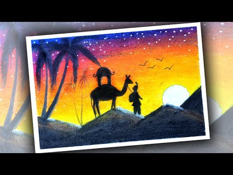 How to draw a Desert for kids | Desert Drawing Lesson Step