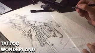 Tattoo Wonderland - Demon & Angel Tattoo Flash Time Lapse
