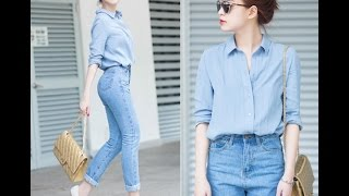 Phong cách thời trang Jean Nữ của sao Việt 2017