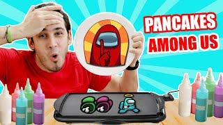 PANCAKES DE AMONG US Y CON DIFICULTAD ! Pancakes Art Challenge   HaroldArtist