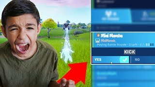 Kicking My Little Brother From Fortnite Game When About to Win! (RAGE)