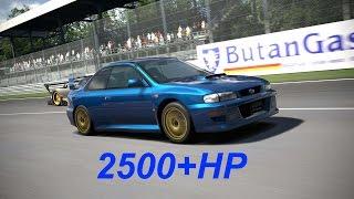 Gran Turismo 6 HACK / 2500hp IMPREZA vs 1000hp huayra