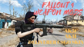 Fallout 4 Weapon Mods AK5C  AKM  DELIVERER KILL CONFERMED RETEXTURE
