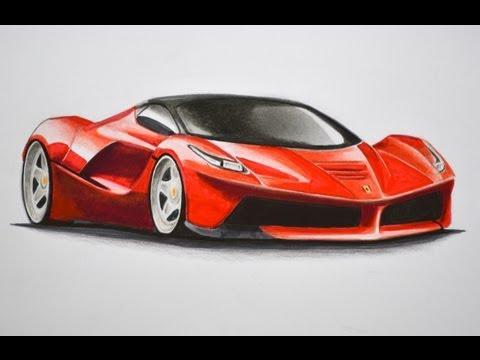 Dibujando carros: cómo dibujar un Ferrari con colores - Arte Diverte.