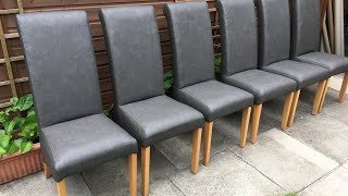 How To Recover Fully Upholstered Dining Chairs In A New Fabric Faux Leather