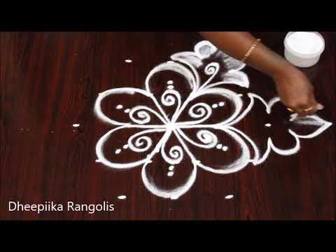 simple and easy rangoli design with 5 dots // Apartment rangolis