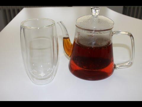 Teekanne 1000 ml Volumen aus Thermoglas Tee Zubereitung