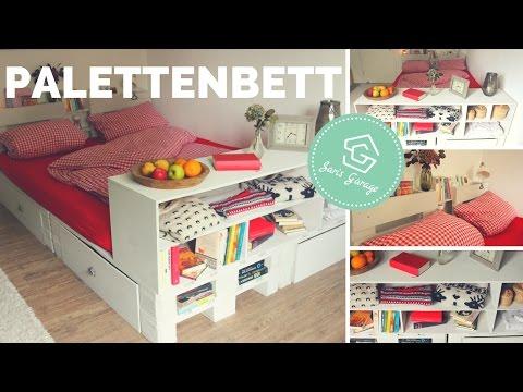 Palettenbett selber bauen - Bett aus Europaletten DIY - Palettenmöbel - Anleitung