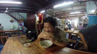 Suphanburi: 2014 Samchuk Market Eating a Massive Grilled Meatball (unedited)