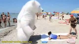 Парень, переодетый в белого медведя пугает девушек на пляже
