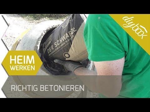 Richtig betonieren: Beton mischen aus Sand, Zement und Wasser