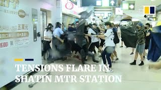 Protesters and police fight at Sha Tin MTR station, after day of protests in Hong Kong