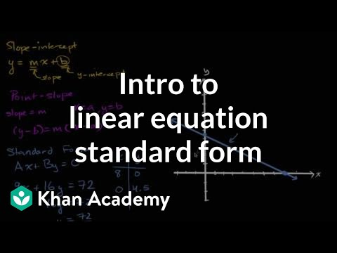 Intro To Linear Equation Standard Form Algebra Video Khan Academy