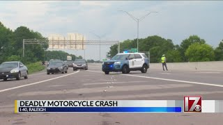 1 dead in motorcycle crash along I-40 in Raleigh