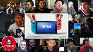 Live Reaction: FORTNITE for Nintendo Switch | E3 2018 | Youtubers Synched Compilation