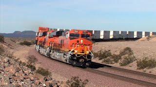 TRAINS On Parade!  A BNSF New Power 3 Pack Hustles Along Cajon And The Needles Sub!