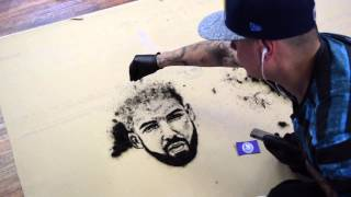 Drake portrait with hair on the floor