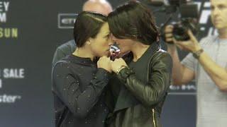 UFC 193: Joanna Jedrzejczyk vs Valerie Letourneau INTENSE staredown