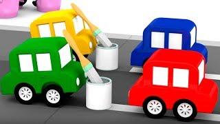 Мультики для детей: 4 машинки и авария на дороге.