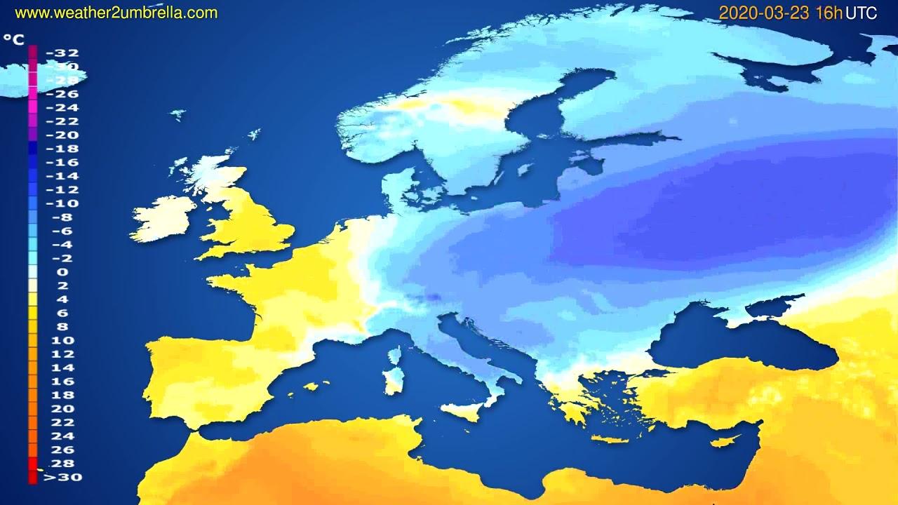 Temperature forecast Europe // modelrun: 12h UTC 2020-03-22