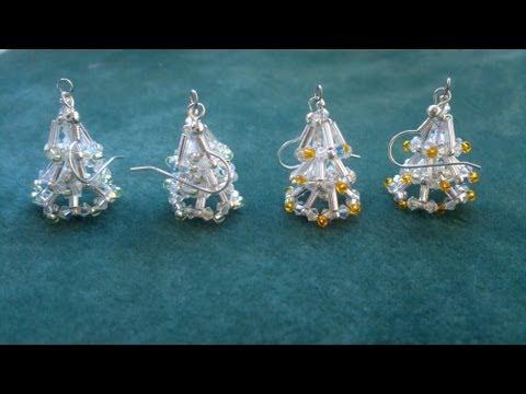 Beading4perfectionists : Christmas tree earring (video version) beginning beaders tutorial