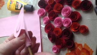 Бумажные розы легко и очень быстро за 5 минут своими руками из цветной бумаги