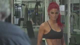 """Eva Marie poses for the cover of """"IRON MAN Magazine"""""""