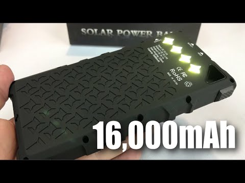 FKANT 16000mAh Rugged Solar Charger Dual USB Power Bank with 4 LED Flashlight review and giveaway