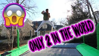 JUMPING ON A 40K TRAMPOLINE IN BACKYARD (INSANE)