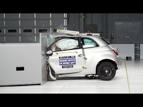 2013 Fiat 500 Overlap IIHS Crash Test Video