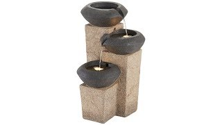 "3-Column 24""H Faux Stone Indoor/Outdoor LED Fountain"