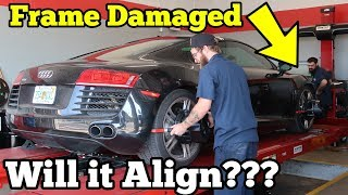 Can a Salvage Supercar with Frame Damage be Aligned? Let's find out on my Audi R8!