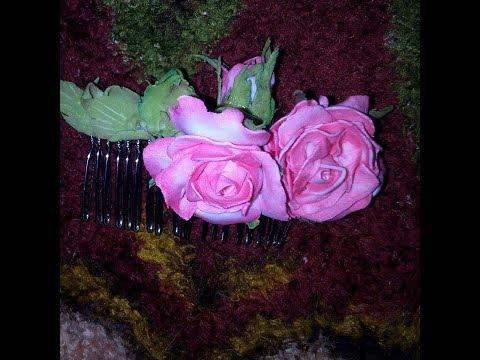 Обзор набора Гребешок из фоамирана\ Как сделать гребень с розами из фоамирана\цветы своими руками