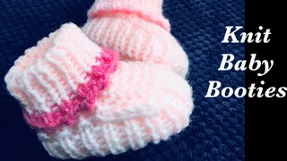 How to knit easy baby booties, shoes, socks or cuffed boots -Newborn 0 to 3M - Knitting for Baby 6
