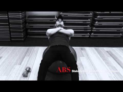 abs stability ball crunch arms crossed