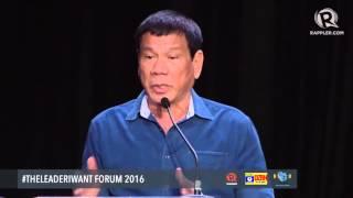 WATCH: Rodrigo Duterte's speech at the #TheLeaderIWant Forum
